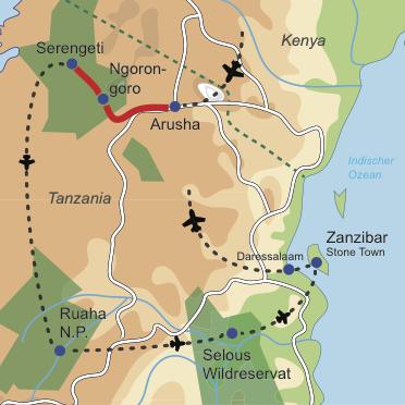 Karte und Reiseverlauf: Ultimate Tanzania - Nord Süd Safarikombination und Stone Town