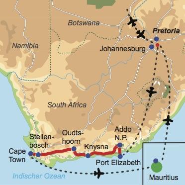 Reiseverlauf: Wildnis & Traumstrand - Mietwagen-Rundreise Südafrika mit Badeverlängerung auf Mauritius