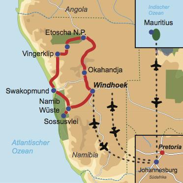 Karte und Reiseverlauf: Wüste, Wind und weite Meere - Mietwagen-Rundreise Namibia und Badeaufenthalt Mauritius
