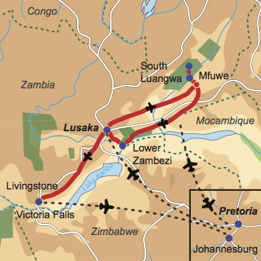 """Karte und Reiseverlauf: Zambia – """"grünes Herz"""" Afrikas - Fly-In Safari zu den Highlights Zambias"""