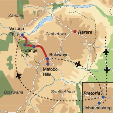 Karte & Reiseverlauf: Zimbabwe Relaxed - Gemütliche Reise durch Zimbabwe
