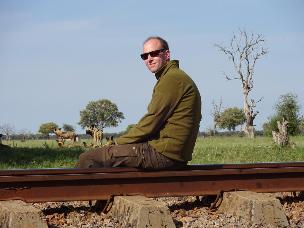 Dirk Brunner, Geschäftsführer von afrika tours individuell beobachtet Wildhunde