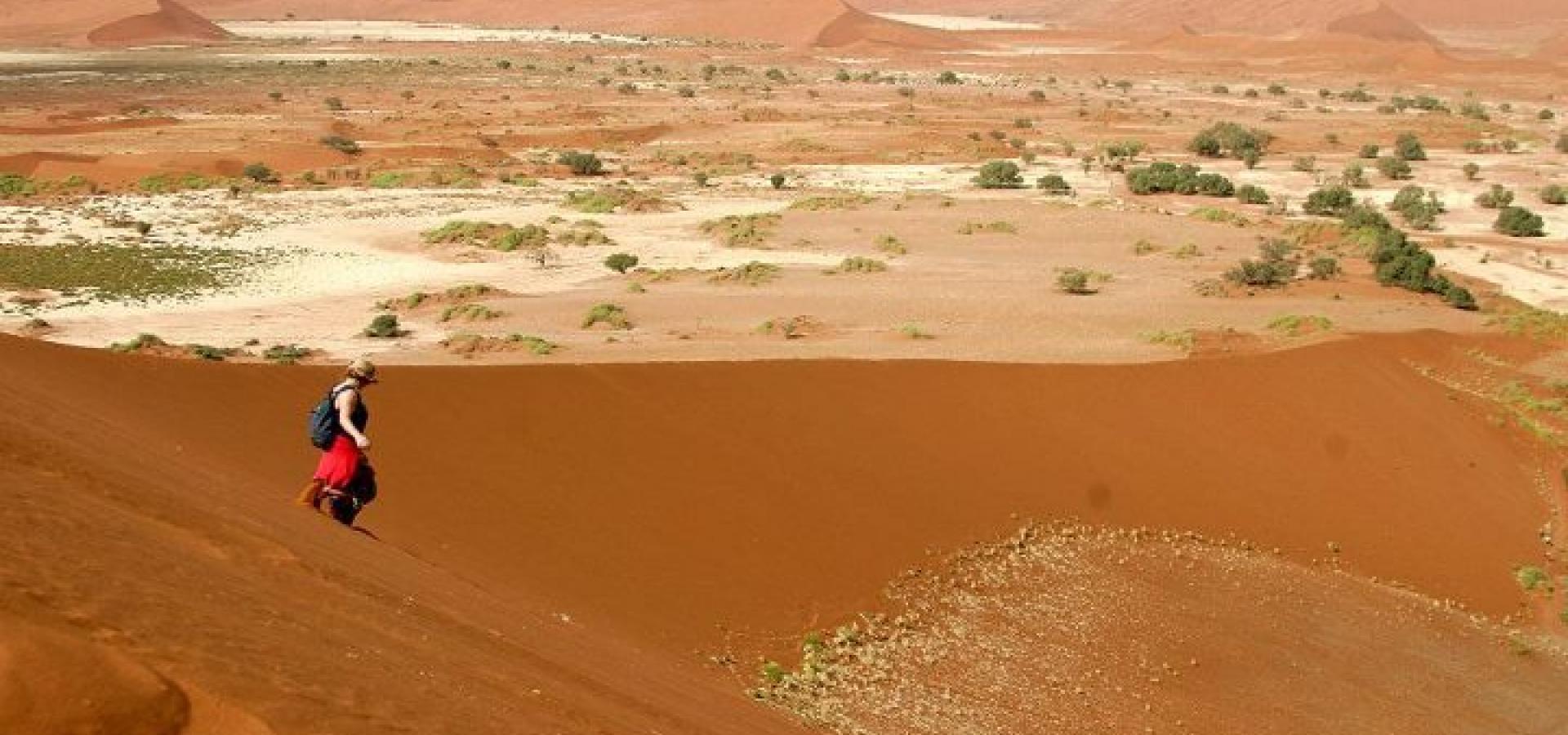Machen Sie eine schweißtreibende Wanderung in den Dünen der Namib Wüste in Namibia