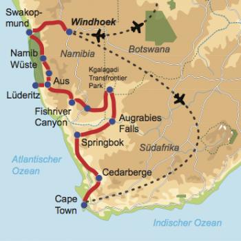 """Karte und Reiseverlauf: Afrika's """"Southern Wonders"""" - Mietwagen-Rundreise vom Kap zum Land zwischen zwei Wüsten"""