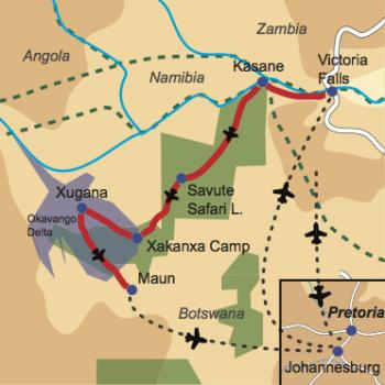 """Karte und Reiseverlauf: Botswana – """"gemütlich"""" - Viktoria Fälle und Fly-In Safari zu Botswanas Tierparadiesen"""