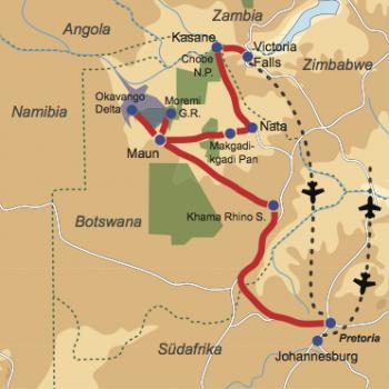 Karte & Reiseverlauf: Botswana Wild Parks - 17-tägige Kleingruppenreise zu den schönsten Wildparks Botswanas