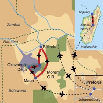 Reiseverlauf Buschabenteuer, Lemuren & Traumstrände - Flugsafari Botswana mit Anschlussprogramm Madagaskar