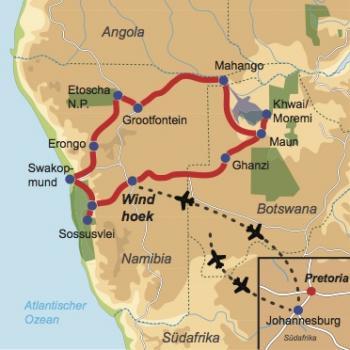 Reiseverlauf: Delta & Desert Erlebnisreise - 19-tägige Kleingruppen Lodge Safari durch Namibia und Botswana