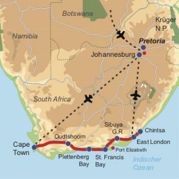 Karte & Reiseverlauf: Garden Route Safari - Gemütliche Südafrika Mietwagenreise entlang der Garden Route