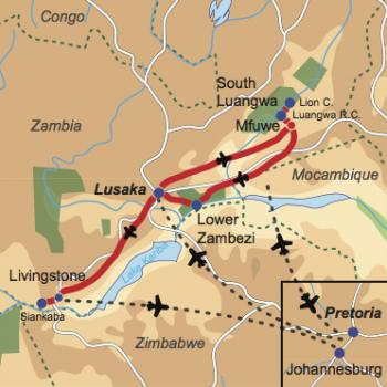 Karte und Reiseverlauf: Geheimtip Zambia – Natur hautnah - Exklusive Fly-In-Safari ins unberührte Zambia