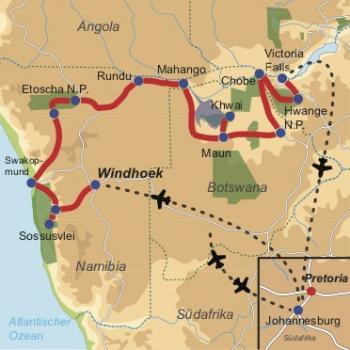 Reiseverlauf: Great Trans-African Lodge Safari - 22-tägige Kleingruppen-Lodge-Safari von Windhoek nach Victoria Falls durch Namibia, Simbabwe und Botswana