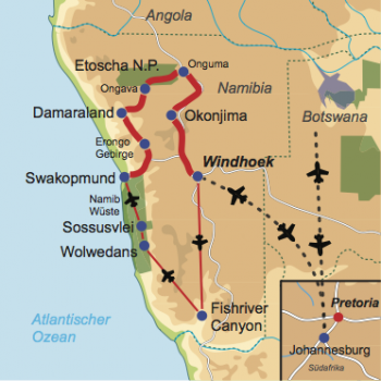 Karte und Reiseverlauf: Namibia Deluxe - Exklusive Fly-In Safari kombiniert mit einer Privattour