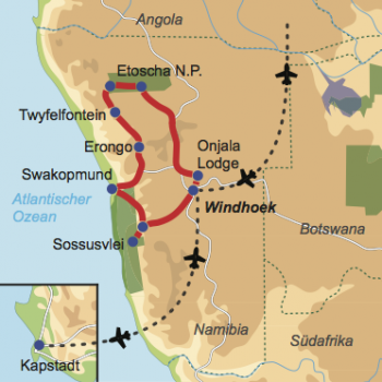 Karte und Reiseverlauf: Namibias Höhepunkte und Kapprovinz - Mietwagen-Rundreise Namibia mit Anschlussaufenthalt in Kapstadt