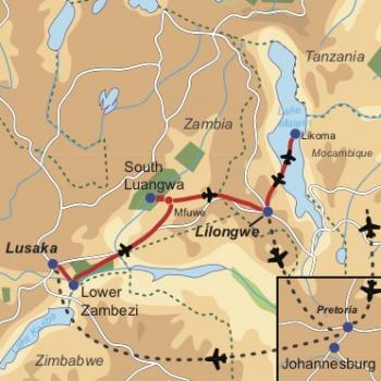 Reiseverlauf  Romantische Wildnis - EXKLUSIVE FLUGSAFARI IN ZAMBIA UND STRANDURLAUB AM LAKE MALAWI