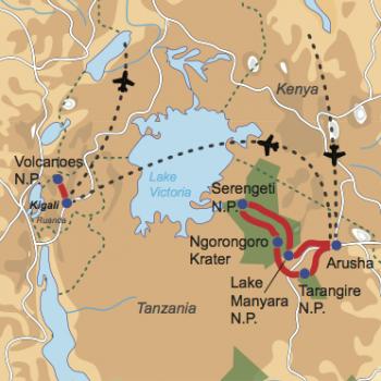 Karte und Reiseverlauf: Serengeti, Vulkane & Silberrücken - Tanzania Safari & Gorilla Tracking in Ruanda