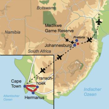 Karte und Reiseverlauf: Südafrika für Genießer - Mietwagen-Rundreise am Kap und Safari im Madikwe Game Reserve