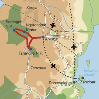 Karte und Reiseverlauf: Tanzanias Höhepunkte - Familienfreundliche Safari- und Badekombination