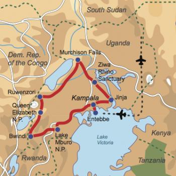 Karte und Reiseverlauf: Uganda Explorer - Geführte Abenteuer-Rundreise zu den Highlights