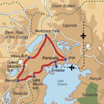 Karte und Reiseverlauf: Uganda – Wildnis pur - Privatsafari zu den Highlights Ugandas