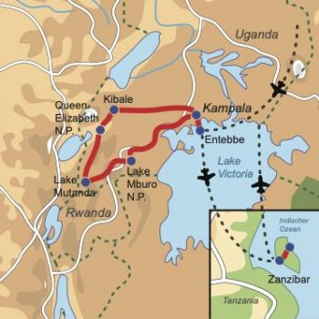 """Reiseverlauf Uganda – Zanzibar """"Explore & Relax"""""""