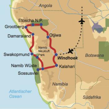 Karte & Reiseverlauf: Unter dem Sternenzelt Namibias - 4x4 Campertour zu den Highlights Namibias