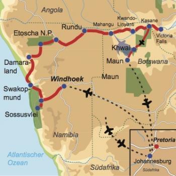 Karte und Reiseverlauf: Vom roten Sand ins grüne Land - Mietwagenreise durch den Caprivi-Strip mit Fly-In Safari Okavango Delta