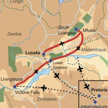 Reiseverlauf Zambia für Preisbewusste: Flugsafari zu den Highlights Zambias Inklusive Victoria Fälle