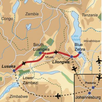 Karte und Reiseverlauf: Zambias Wildlife & der große Malawi-See - Interessante Flugsafari durch Zambia und nach Malawi